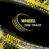 Wheel tire track black background