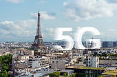 5G high speed internet in Europe. Eiffel tower, famous landmark and travel destination in Paris, France