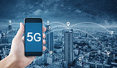 5G technology, Hand using 5g internet on mobile smartphone and city with networking