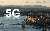 5G high speed internet in Europe. Budapest famous tourist attraction city and travel destination in Hungary