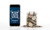 QR code scanning payment. Mobile smart phone scan QR code for payment