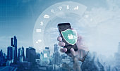 Mobile application and online data security system. Hand using mobile smart phone with lock and application icon