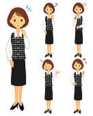 Female office worker. Various expression sets 02