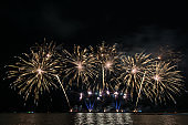 Beautiful firework display for celebration over the sea