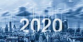 2020 new year on futuristic city background