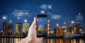 Online data security connection by mobile smart phone and smart technology. Hand holding mobile phone connect to internet data