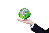 Earth day, Protect the world with environment and Eco-friendly business. Businessman hand holding globe with leaves, isolated on white background. Element of this image are furnished by NASA