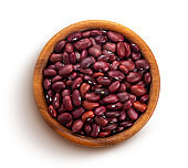 Red beans in wooden bowl isolated on white background