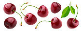 Cherry isolated on white background with clipping path, fresh cherries with stems and leaves