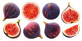 Fresh figs isolated on white background with clipping path,