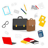 Suitcase, stationery, books, notepad vector icons. Contents of the teachers bag