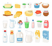 Dairy products, milk, cheese yoghurt and ice cream