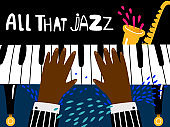 Jazz piano poster. Blues and jazz rhythm musical art festival vector background