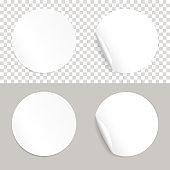 Round white realistic stickers