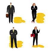 Cartoon character businessman and businesswoman with coins vector isolated on white background