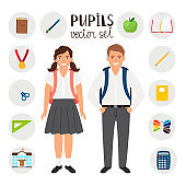 Pupils boy and girl. Icons set tools stationary for school. Vector illustration