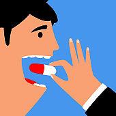 Man eating pill for health. Disease treatment
