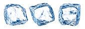 Ice cube isolate. Set of ice cubes, isolated on white