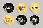 Gold black round stickers