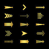 Golden arrows icons on black background vector set