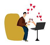 Online dating vector illustration. Happy man and notebook. Online chat couple in love