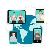 Family video chat. Global network communication vector concept