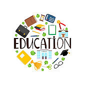 Education round banner with stationery