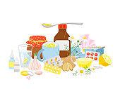 Cold medicine, pills syrup, tea with lemon, garlic, ginger