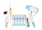 Vaccination concept. Vector doctors with syringe ampoule with medicine. Traditional medicine illustration