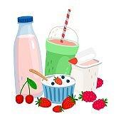 Dairy and berries. Milk, yogurt, cream, fresh berries vector illustration