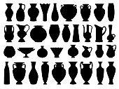 Vintage greek vases black silhouette