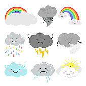 Cute emotional clouds weather icons