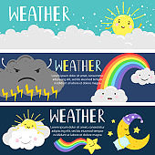 Weather banners with cute cartoon sun, moon, clouds vector template