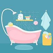 Bathroom interior bath and accessories cartoon vector illustration
