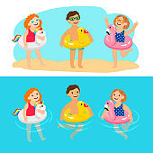 Kids with animals swimming rings