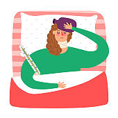 Cartoon sick woman lying in bed with thermometer