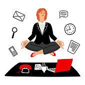 Work meditation vector concept. Businesswoman keeps calm on work place