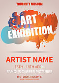Abstract colorful splash vector flyer template of art exhibition in red color