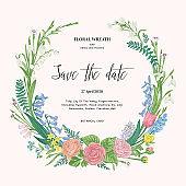 Wreath with garden flowers. Spring romantic wedding invitation. Pastel colors.