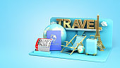 Minimal simple travel podium holidays vacation and Airplane travel concept 3d rendering on blue gradient