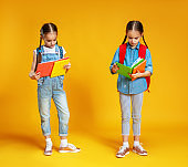 two funny children school girls   on yellow background