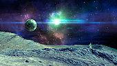 Space scene. Colorful nebula with planet, land and astronaut. https://mars.nasa.gov/resources/7485/hinners-point-above-floor-of-marathon-valley-on-mars-enhanced-color/ https://photojournal.jpl.nasa.gov/jpeg/PIA18394.jpg https://www.nasa.gov/sites/default/