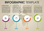 Modern colorful infographics options template vector with circle and world dotted map