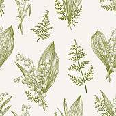 Seamless pattern with lily of the valley.