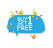 Buy 1 Get 1 Free sale banner template. Offer promotion for retail. Vector Illustration
