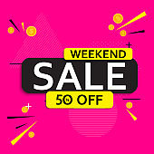 Abstract weekend sale poster. Vector illustration