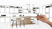 Unfinished project, under construction draft, concept interior design sketch, hand drawing real kitchen sketch with blueprint background, architect and designer idea