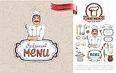 Hand Drawn Russian Cuisine Restaurant Concept