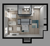 One room apartment flat top view, Murphy bed, furniture and decors, plan, cross section interior design, architect designer concept idea, isolated on gray background
