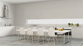 Interior design depth of field, contemporary minimalistic white kitchen with table and chairs, modern architecture concept idea